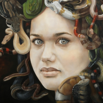 Medusa portrait oil painting by Irene Veltman